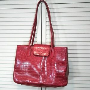 Bueno Red Faux Alligator Leather Handbag